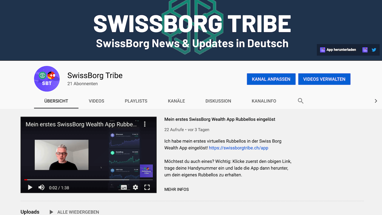 SwissBorg Tribe YouTube-Kanal